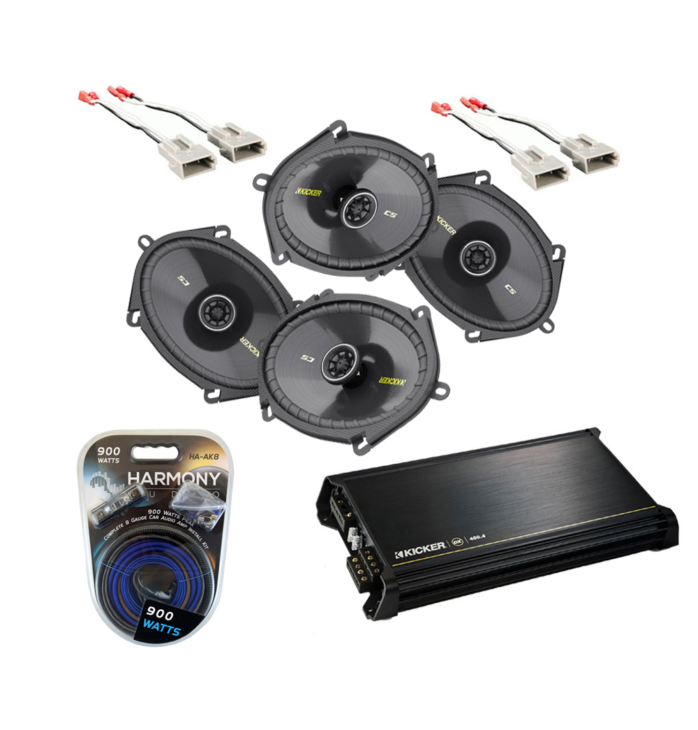 Ford F150 Regular Cab 97-99 Truck Kicker Factory 5x7 6x8 Coaxial Speaker Replacement (2) CS684 Package with DX400.4 Amp