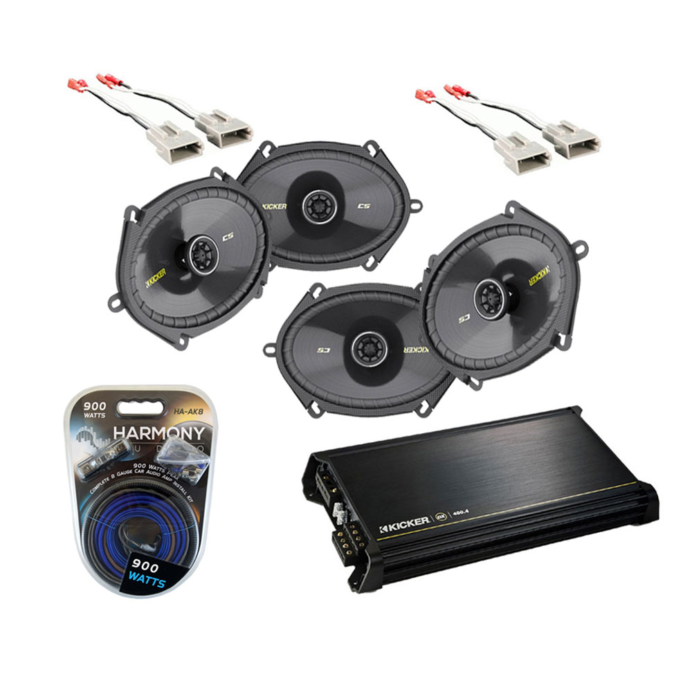 Ford F250/F350 Extended Cab 97-99 Truck Kicker Factory 5x7 6x8 Coaxial Speaker Replacement (2) CS684 Package with DX400.4 Amp