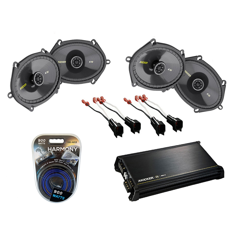 Ford F150 Regular Cab 00-12 Truck Kicker Factory 5x7 6x8 Coaxial Speaker Replacement (2) CS684 Package with DX400.4 Amp