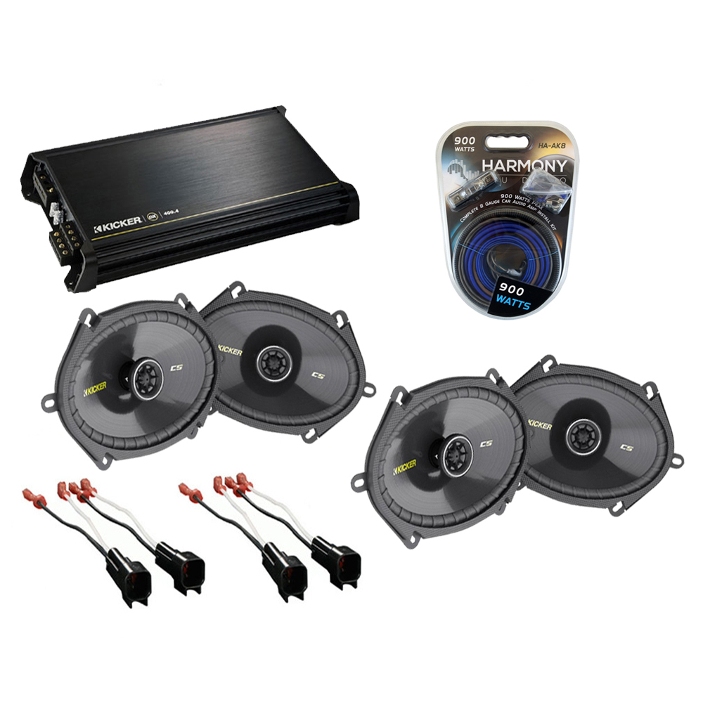 Ford F250/F350 Extended Cab 00-12 Truck Kicker Factory 5x7 6x8 Coaxial Speaker Replacement (2) CS684 Package with DX400.4 Amp