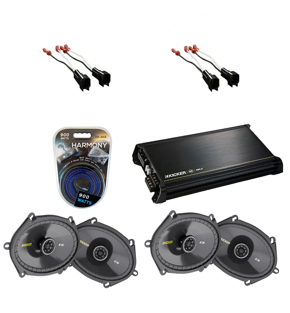 Lincoln MKZ 2007-2010 Kicker Factory 5x7 6x8 Coaxial Speaker Replacement  (2) CS684 Package with DX400.4 Amp