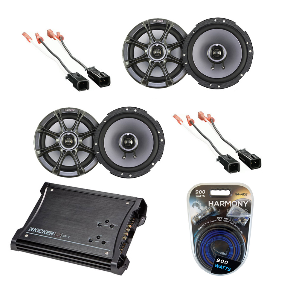 "Dodge Dakota 1997-1999 Kicker Factory 6 1/2"" Coaxial Speaker Replacement (2) KS65 Package with ZX350.4 Amp"