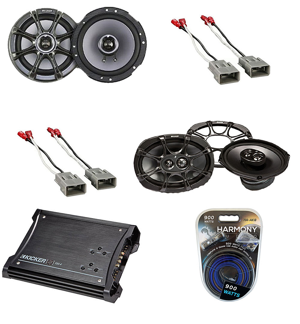 Acura TL 2004-2008 Kicker Factory Coaxial Speaker Replacement KS65 & KS693  Package with ZX350.4 Amp