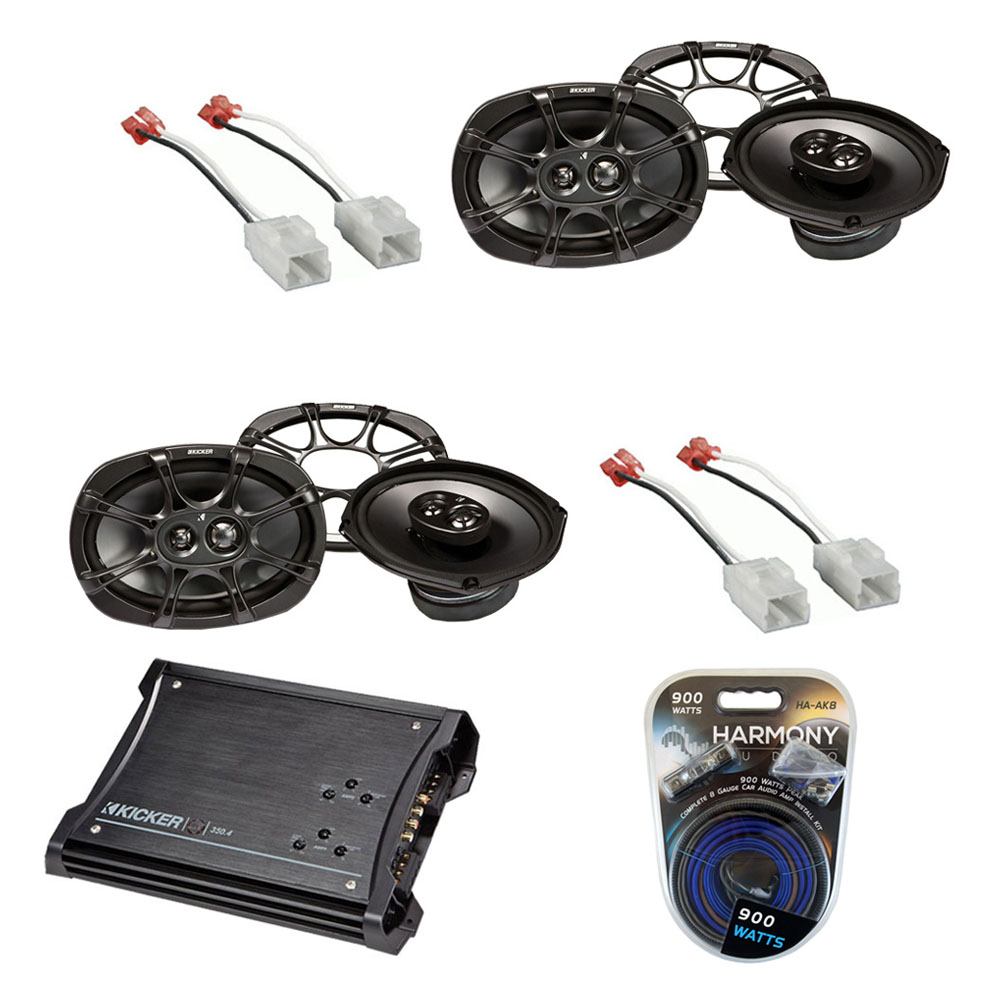 Dodge Ram 09-12 Quad Cab Truck Kicker Factory Speaker Replacement (2) KS693 Package with ZX350.4 Amp