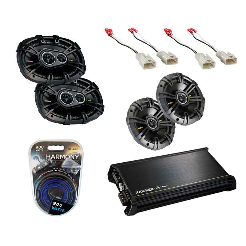 Toyota Tacoma 2005-2011 Kicker Factory Coaxial Speaker Replacement CS654 & CS6934 Package with DX400.4 Amp