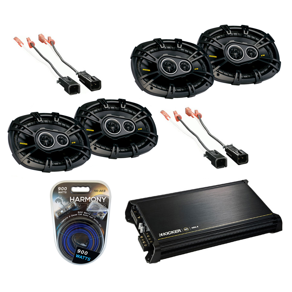 Dodge Caravan 2000-2003 Kicker Factory 6X9 Coaxial Speaker Replacement (2) CS6934 Package with DX400.4 Amp
