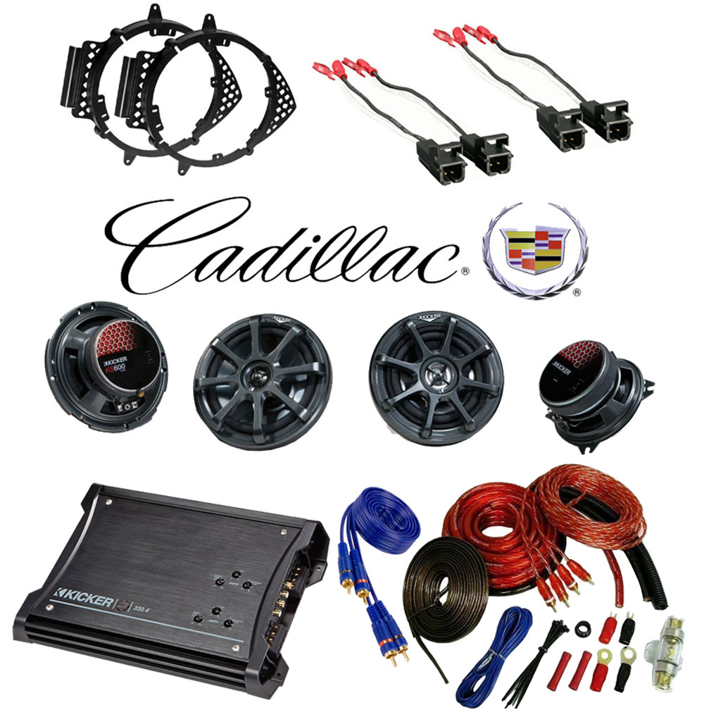 Cadillac Escalade 07-12 Kicker Factory Coaxial Speaker Replacement KS650 &  KS5250 Package with ZX350 4 Amp