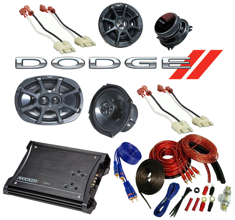 Dodge Ram 94-01 Regular Cab Truck Kicker Factory Speaker Replacement KS6930 & KS5250 Package with ZX350.4 Amp