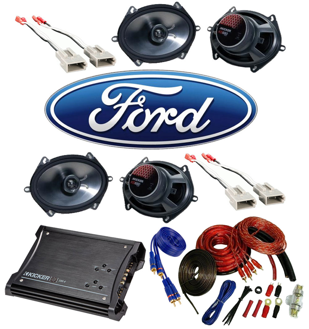 Ford F150 Extended Cab 97-99 Truck Kicker Factory 5x7 6x8 Coaxial Speaker Replacement (2) KS680 Package with ZX350.4 Amp
