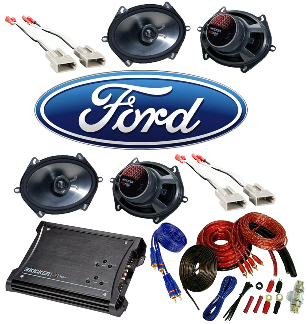 Ford F150 Regular Cab 97-99 Truck Kicker Factory 5x7 6x8 Coaxial Speaker Replacement (2) KS680 Package with ZX350.4 Amp