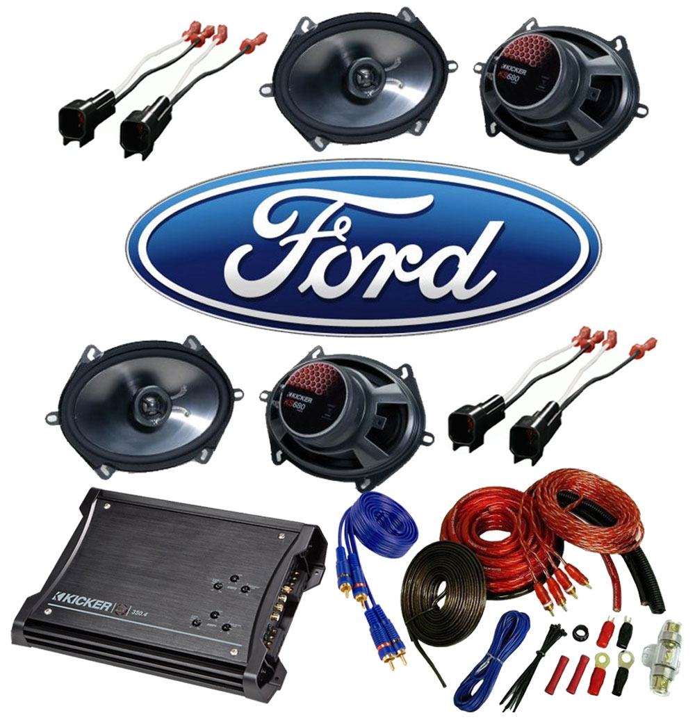 Ford F250/F350 Extended Cab 97-99 Truck Kicker Factory 5x7 6x8 Coaxial Speaker Replacement (2) KS680 Package with ZX350.4 Amp