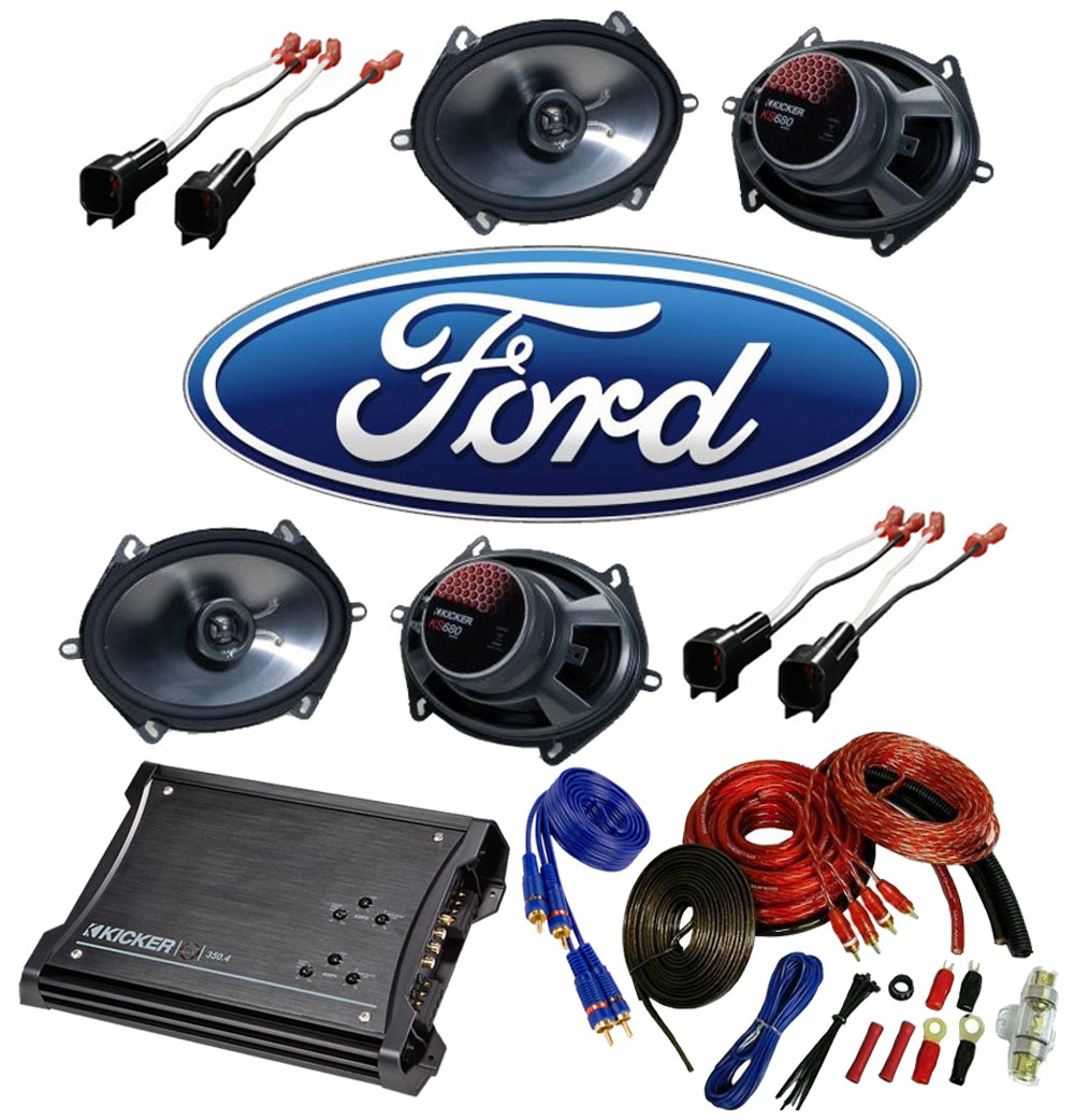 Ford Mustang 2005-2012 Kicker Factory 5x7 6x8 Coaxial Speaker Replacement (2) KS680 Package with ZX350.4 Amp