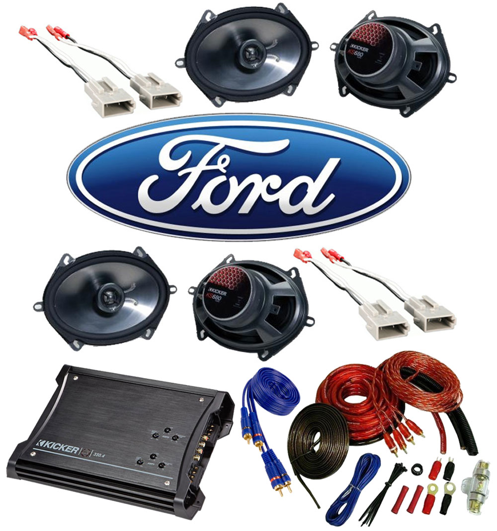 Ford Ranger 1993-1997 Extended Cab Truck Factory 5x7 6x8 Coaxial Speaker Replacement (2) KS680 Package with ZX350.4 Amp