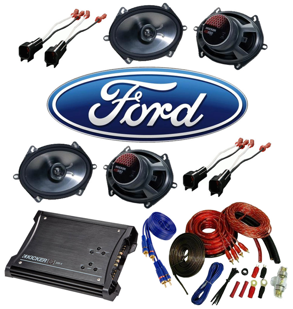 Ford Ranger 1998-2012 Extended Cab Truck Factory 5x7 6x8 Coaxial Speaker Replacement (2) KS680 Package with ZX350.4 Amp