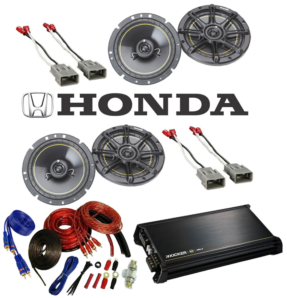 "Honda Civic 1986-1995 Kicker Factory 6 1/2"" Coaxial Speaker Replacement (2) DS65 Package with DX400.4 Amp"