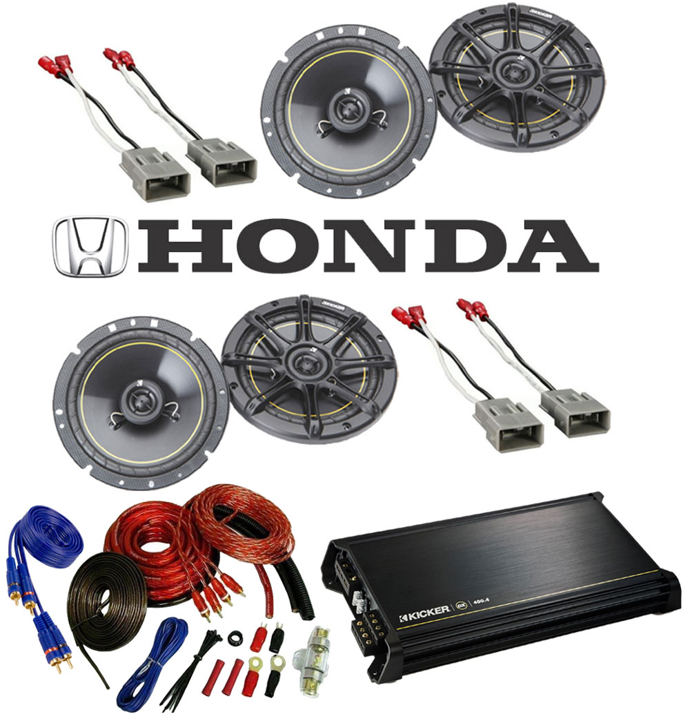 """Honda Odyssey 1995-2004 Kicker Factory 6 1/2"""" Coaxial Speaker Replacement (2) DS65 Package with DX400.4 Amp"""