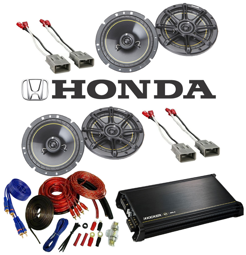 "Honda Pilot 2003-2008 Kicker Factory 6 1/2"" Coaxial Speaker Replacement (2) DS65 Package with DX400.4 Amp"