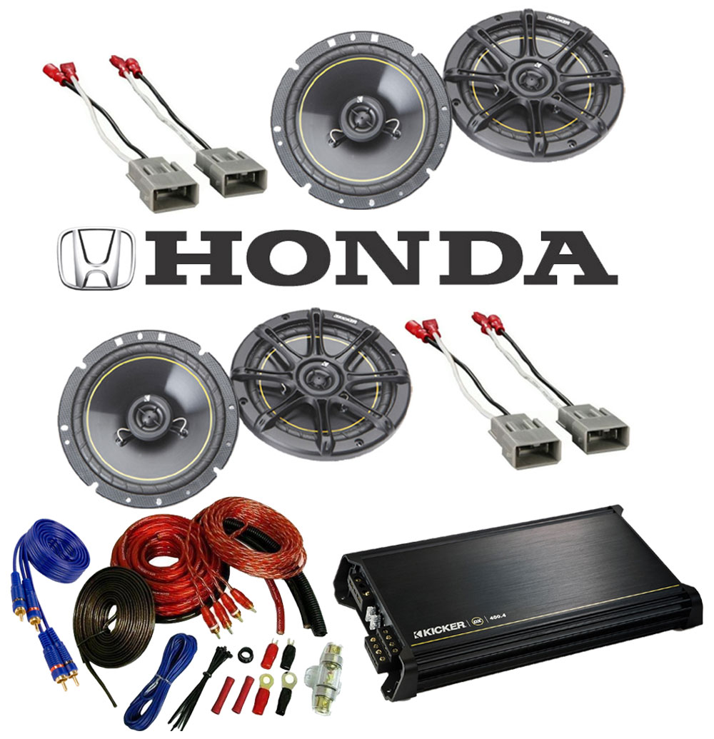 "Honda Prelude 1992-1996 Kicker Factory 6 1/2"" Coaxial Speaker Replacement (2) DS65 Package with DX400.4 Amp"