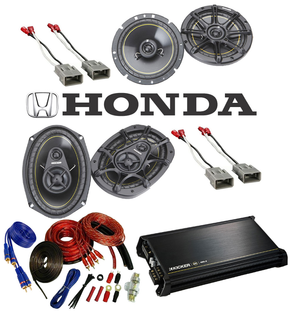 Honda Civic 1996-2000 Kicker Factory Coaxial Speaker Replacement DS65 & DS693 Package with DX400.4 Amp