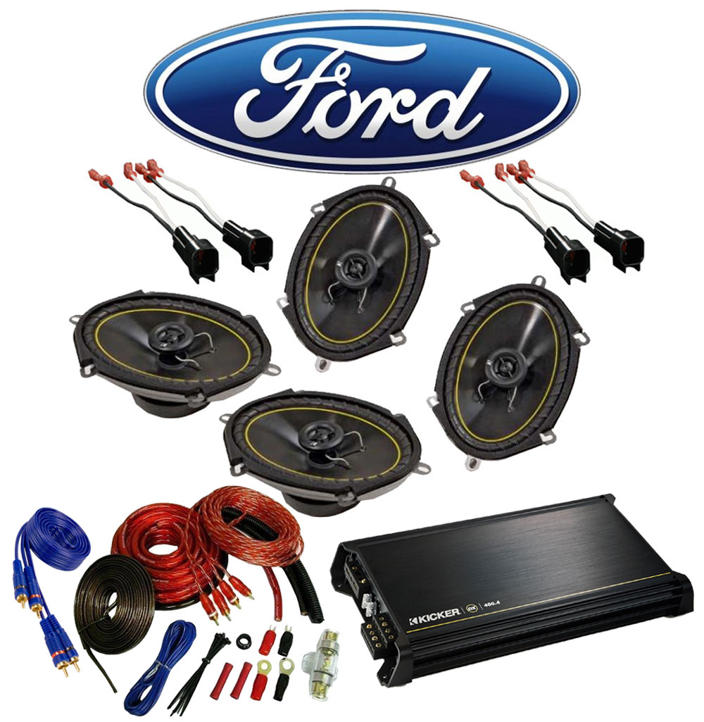 Ford F150 Extended Cab 00-12 Truck Kicker Factory 5x7 6x8 Coaxial Speaker Replacement (2) DS680 Package with DX400.4 Amp