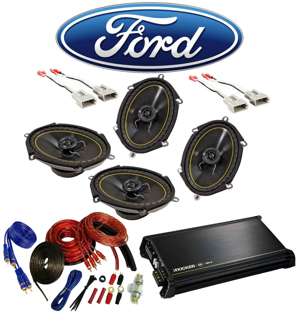 Ford F150 Regular Cab 97-99 Truck Kicker Factory 5x7 6x8 Coaxial Speaker Replacement (2) DS680 Package with DX400.4 Amp