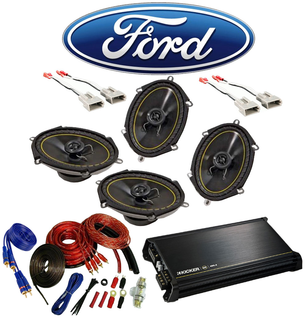 Ford F250/F350 Extended Cab 97-99 Truck Kicker Factory 5x7 6x8 Coaxial Speaker Replacement (2) DS680 Package with DX400.4 Amp