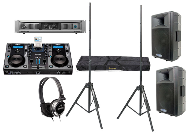 "DJ Package Cortex DMIX-300 Pro iPod Digital Media Controller with Monitor Headphones, Behringer EPQ2000 Power 2000 Watt Amp and (2) American Audio DLS-15 Passive 15"" 900W Speaker with Adjustable Stands"
