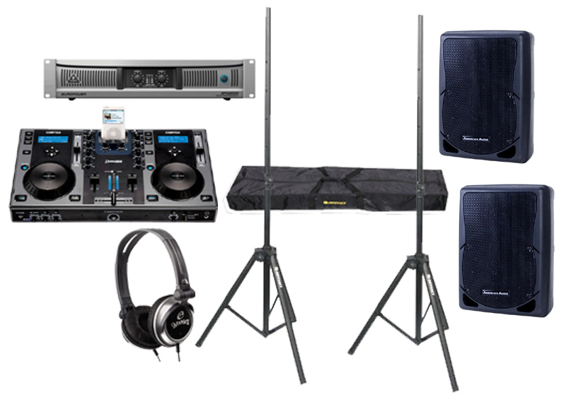 "DJ Package Cortex DMIX-300 Pro iPod Digital Media Controller with Monitor Headphones, Behringer EPQ2000 Power 2000 Watt Amp and (2) American Audio XSP-12 Passive 12"" 700W Speaker with Adjustable Stands"