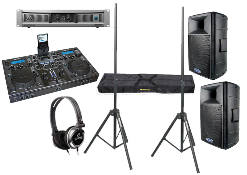 "DJ Package Cortex DMIX-600 Pro iPod Digital Media Controller with Monitor Headphones, Behringer EPQ2000 Power 2000 Watt Amp and (2) American Audio DLS-15 Passive 15"" 900W Speaker with Adjustable Stands"