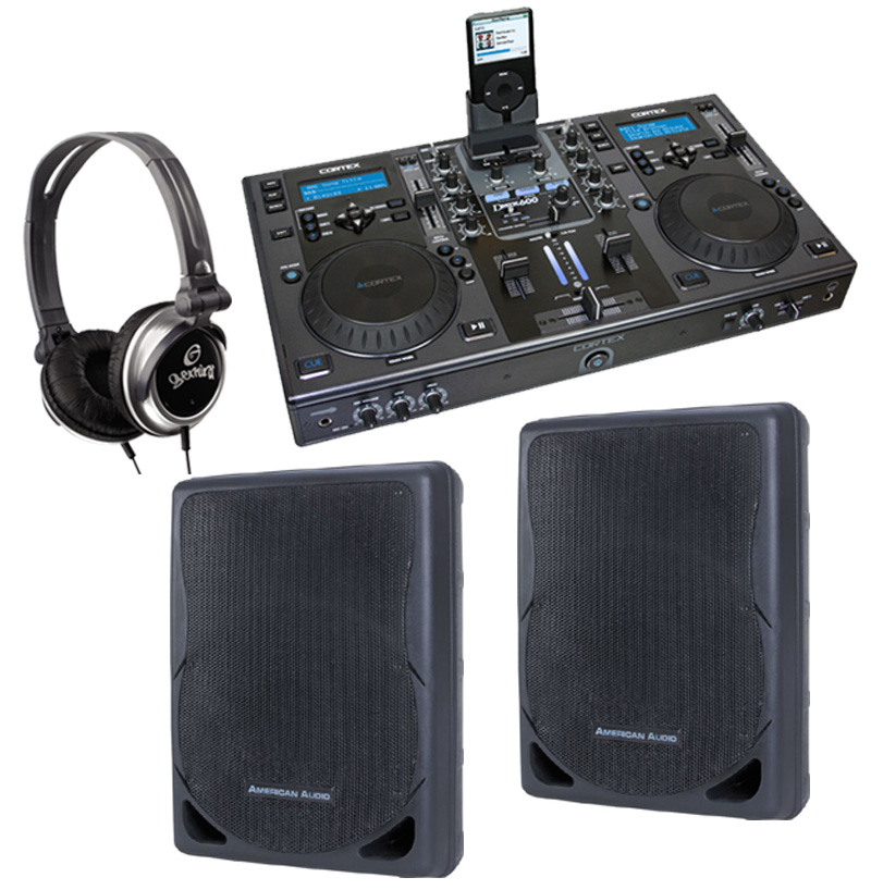 "DJ Package Cortex DMIX-600 Pro iPod Digital Media Controller, Monitor Headphones and American Audio XSP-12A 12"" PA 300W 2-Way Speaker Pair System"