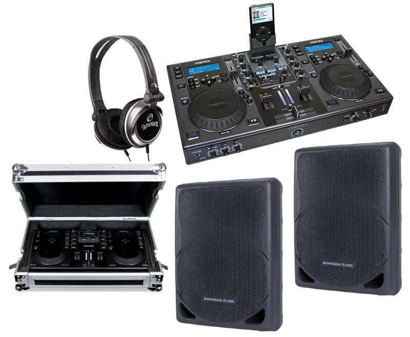"DJ Package Cortex DMIX-600 Pro iPod Digital Media Controller with Sturdy Case, Monitor Headphones and American Audio XSP-12A 12"" PA 300W 2-Way Speaker Pair System"