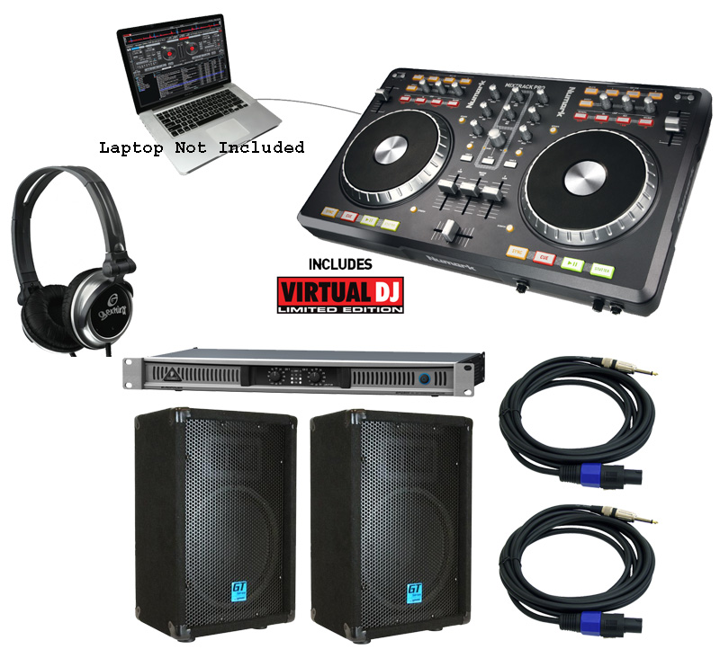 Numark Mixtrack PRO Virtual DJ Software with Speakers, Amp ...