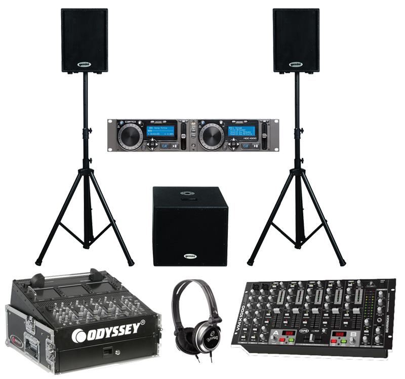 "DJ Package Cortex HDC-1000 Pro Rack Mount Mass Storage Media Player & Controller with Monitor Headphones, Dual 10"" PA Powered Speakers & 15"" Sub, Behringer VMX1000USB 7CH Mixer & Odyssey FR1002 Flight Case"