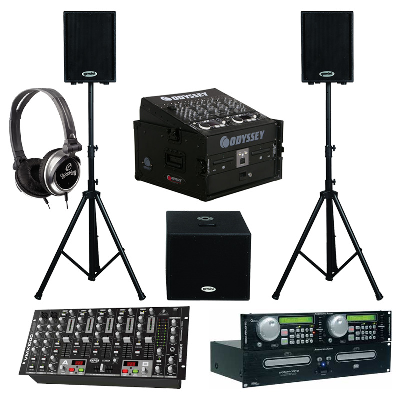 "DJ Package American Audio DCD PRO310 Pro Rack Mount Dual CD Player with Monitor Headphones, Dual 10"" Powered PA Speakers & Powered 15"" Subwoofer, Behringer VMX1000USB 7CH Mixer and Odyssey Flight Case"