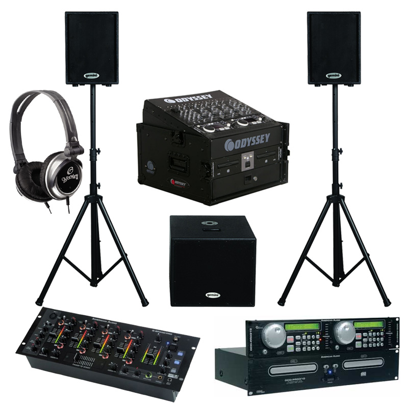 """DJ Package American Audio DCD PRO310 Pro Rack Mount Dual CD Player with Monitor Headphones, Dual 10"""" Powered PA Speakers & Powered 15"""" Subwoofer, Q-SPAND PRO 4CH Mixer and Odyssey Flight Case"""