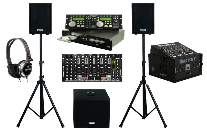 "DJ Package American Audio CDG350 Pro Rack Mount Dual CD Player with Monitor Headphones, Dual 10"" Powered PA Speakers & Powered 15"" Subwoofer, Behringer VMX1000USB 7CH Mixer and Odyssey Flight Case"