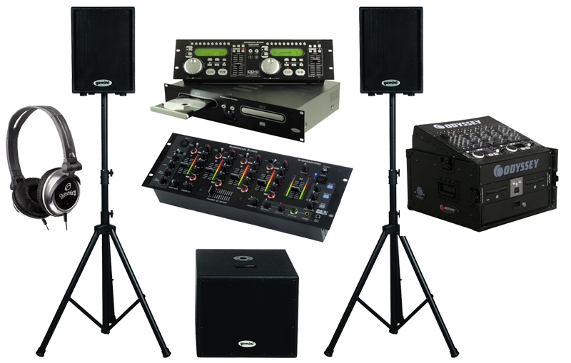 "DJ Package American Audio CDG350 Pro Rack Mount Dual CD Player with Monitor Headphones, Dual 10"" Powered PA Speakers & Powered 15"" Subwoofer, Q-SPAND PRO 4CH Mixer and Odyssey Flight Case"
