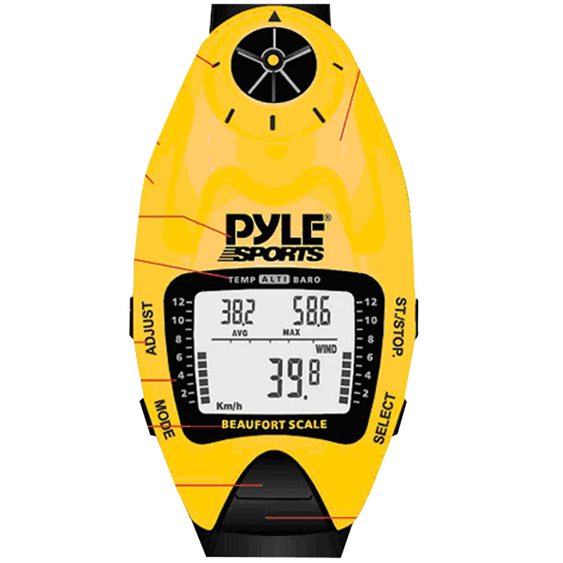 Pyle PSWWM90Y Wind Speed Meter w/ Wind Chill Temp., Altimeter, Barometer, Compass, 10 Laps Chronograph Memory, Yacht Timer (Yellow Color)