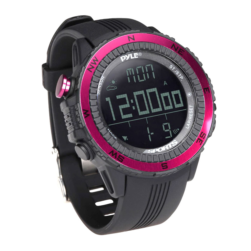 Pyle Sport PSWWM82PN Digital Multifunction Sports Watch with Compass - Pink