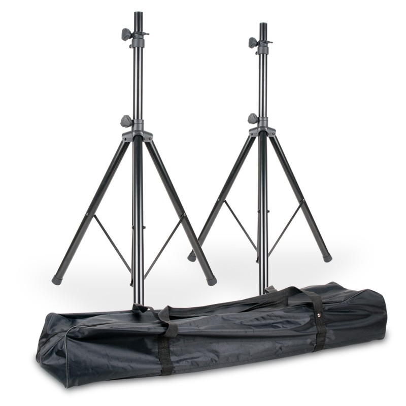 American DJ SPSX2B Dual SPS1-B Speaker Stands with Carry Bag Package