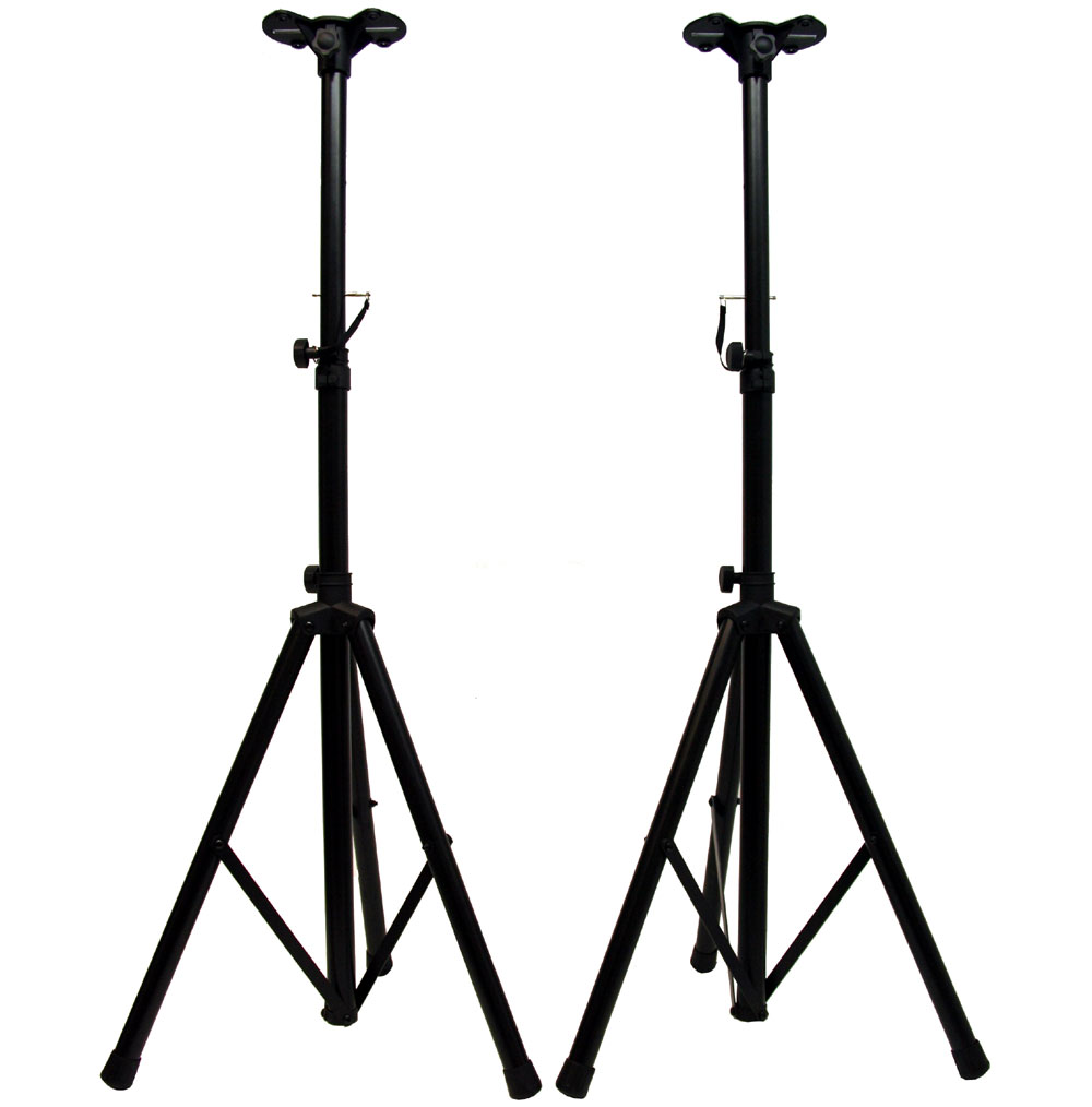 pro audio dj heavy duty tripod speaker stands with speaker pole adapter bracket pair asc stand. Black Bedroom Furniture Sets. Home Design Ideas