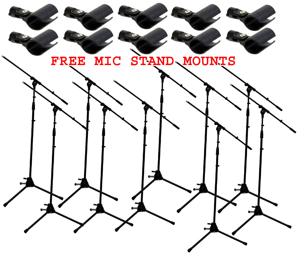 10  pro audio dj tripod adjustable height boom mic microphone stands  u0026  10  free mic