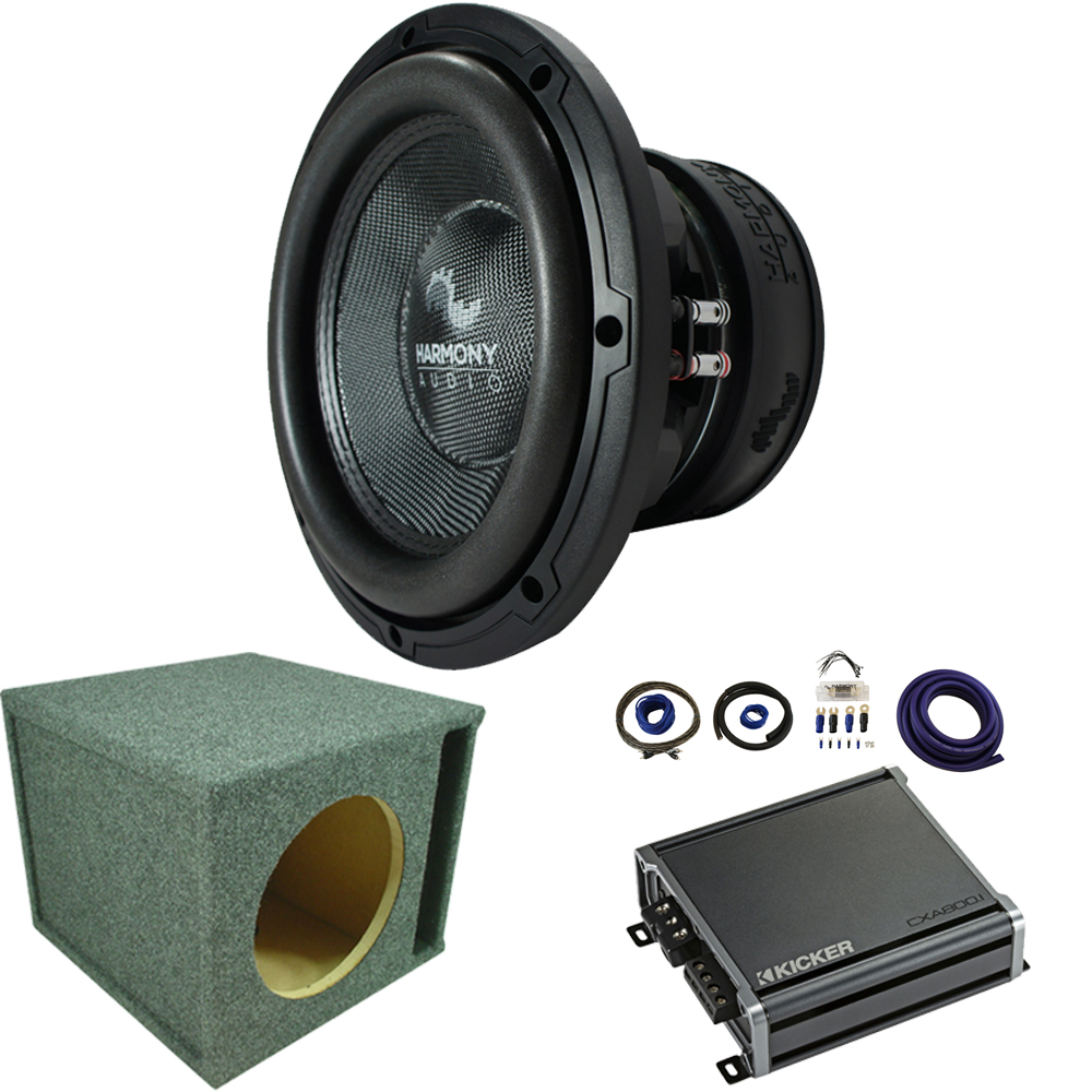 "Harmony Audio HA-C122 Competition Loaded 12"" Loaded Vented Sub Box Bundle with Kicker CXA8001 Amp & Install Kit"