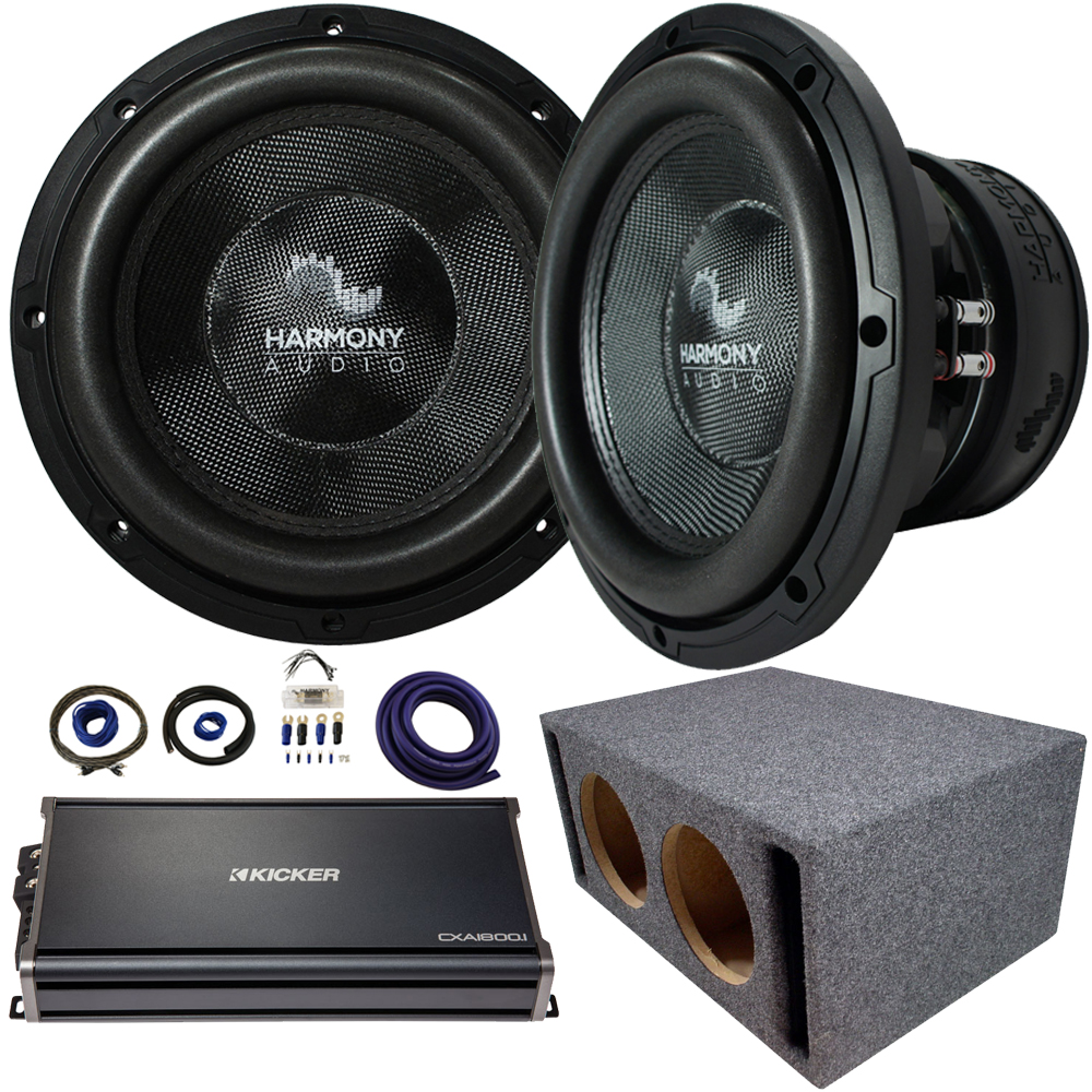 """Harmony Audio Compatible With Universal Car HA-C124 Competition Dual 12"""" Vented Sub Box Enclosure 2200W With CXA18001 Amplifier"""
