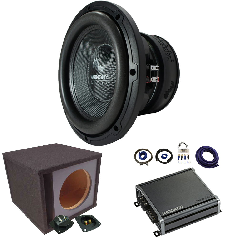 "Harmony Audio HA-C152 Competition Loaded 15"" 2800W Ported Sub Box Bundle with Kicker CXA8001 Amp & Install Kit"