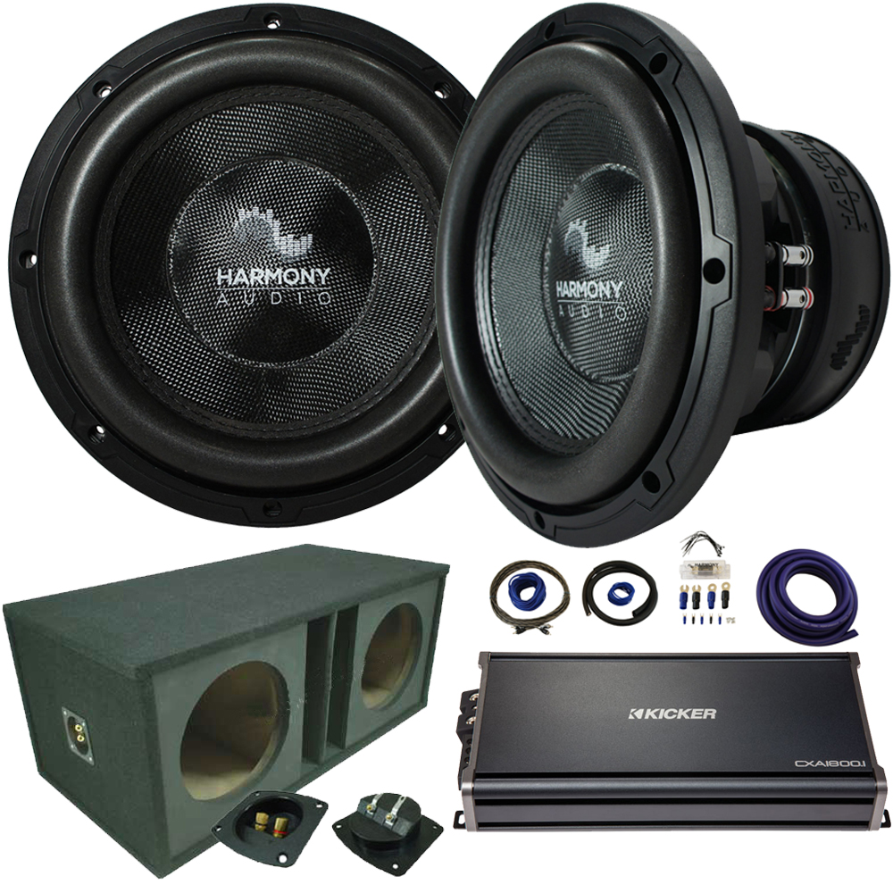"Harmony Audio Compatible With Universal Car Trunk HA-C154 Competition Dual 15"" Loaded Ported Sub Box Enclosure 2800W With CXA18001 Amplifier"