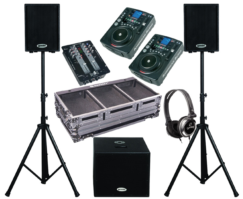 """DJ Package American Audio Pair CDI 500 MP3 Pro MP3 CD Players with Monitor Headphones, Q-D5 MKII Pro Scratch 2CH Mixer, Gemini Dual 10"""" Powered PA Speakers & Subwoofer and Odyssey Gig Case"""