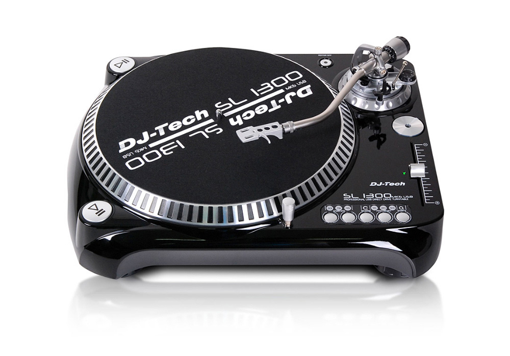 DJ Tech SL1300 MK6 Professional Direct Drive Turntable w/ strong ABS cabinet (Black)