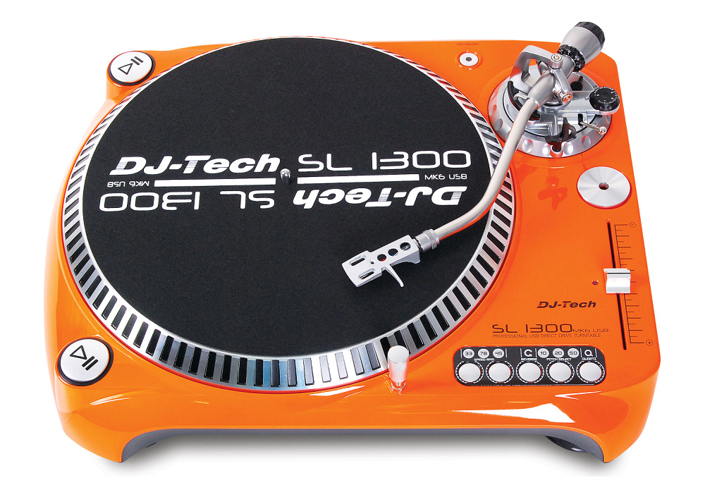 DJ Tech SL1300 MK6 Professional Direct Drive Turntable w/ phono and line output (Orange)