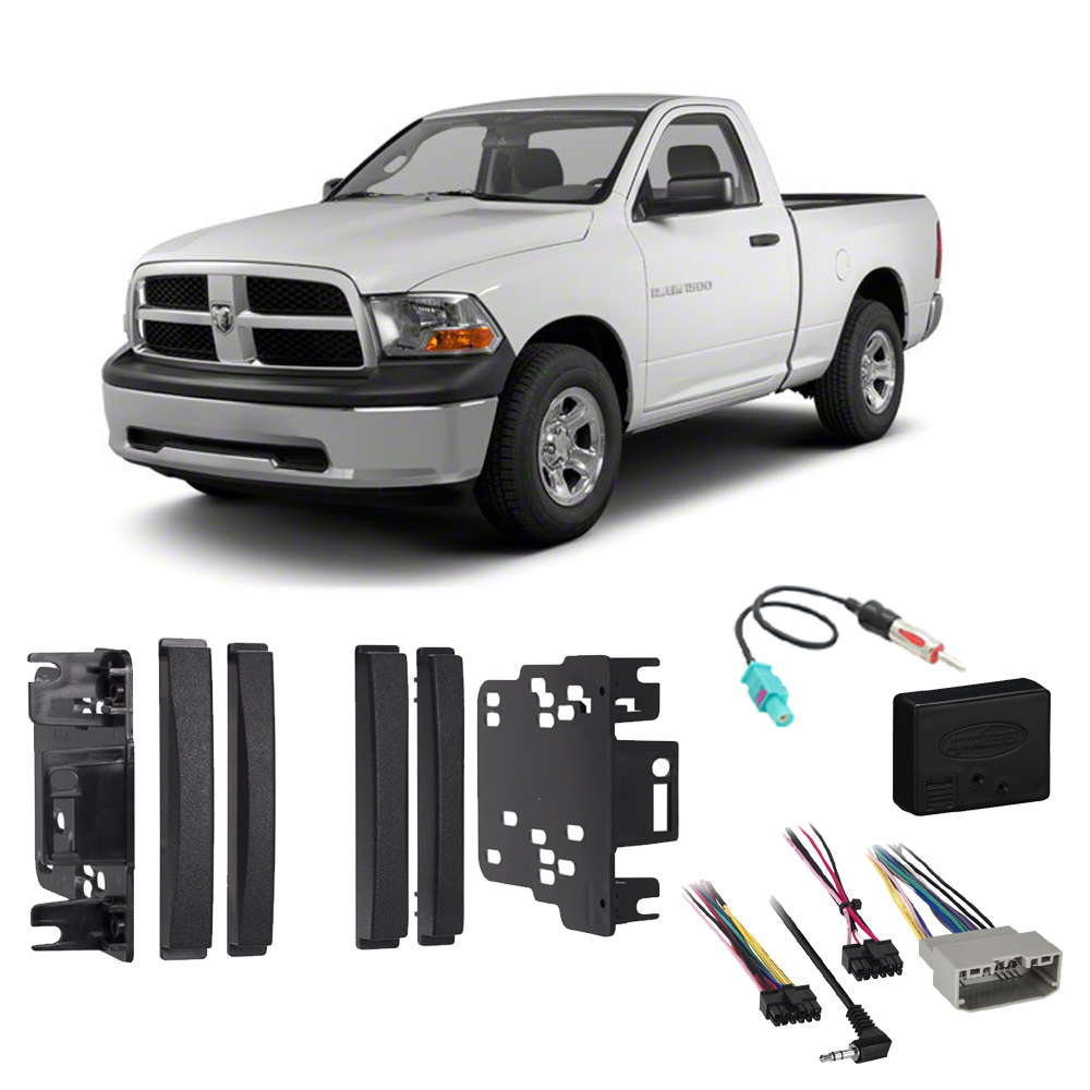 Ram 1500 2500 3500 2012 Double DIN Stereo Harness Radio Install Dash Kit Package